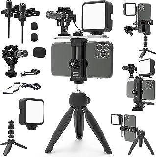 DREAMGRIP SCOUT MOJO Modular Rig Kit 2020 带 3 个麦克风,LED 灯和全输入配件套装,适用于 PRO 视频制作,可使用任何智能手机,适用于记事家、Vlogers、YouTubeers 和电影制作者