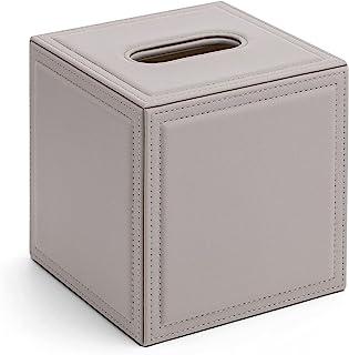 Vlando 纸巾架盒,PU 皮革方形餐巾架抽纸盒分配器,纸巾架带按钮底部适用于家庭办公室汽车装饰灰色