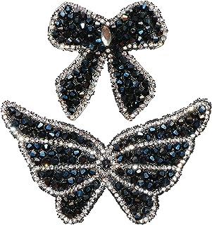 2 件蝴蝶形状水晶钻石贴片时尚个性服装和包装饰贴纸美甲珠布贴袋服装手机外壳配件等(黑色)
