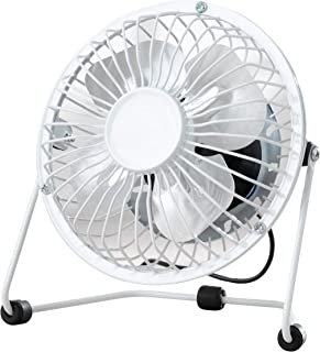 Fine Elements COL1263 4 英寸(约 10.2 厘米)台扇,USB 台扇,四个铝制叶片,坚固的梯形底座,便携式 2.5 瓦台扇,适合家庭或办公室使用,使用方便,工作时的理想冷却 - 白色