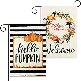 2 件 Welcome Fall 花园旗双面 Hello House 旗帜带南瓜和花朵,12.5 x 18.5 英寸季节性户外花园庭院横幅草坪装饰,适用于室外乔迁(经典风格)