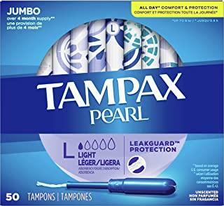 Tampax 带有塑料涂抹器的珍珠卫生棉条,轻度吸收,200个,无气味(50个,4包,共200个)