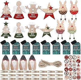 Jetec 24 件圣诞降临节日历数字装饰木制降临节日历装饰品圣诞倒计时挂日历装饰带 24 个夹子粗麻布绳和贴纸,共 50 件
