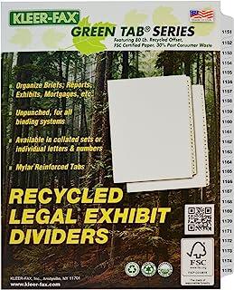 Kleer-Fax 信纸尺寸索引隔板,折叠编号套装,侧标签,1/25 切割,每包 1 套,白色,1151-1175 (87607)