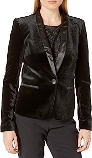 James Jeans 女式燕尾服夹克,缎面皮革翻领,黑色天鹅绒