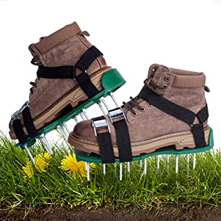 Sekushim 草坪曝气器鞋适用于草坪曝气器工具,带金属扣和 3 条绑带码工具,用于更*的草坪曝气鞋有效充气土壤,用于为您的草坪庭院充气