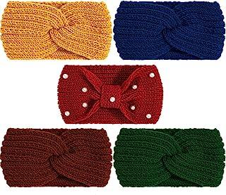 Whaline 5 件冬季針織發箍粗針織發箍,4 個彈性頭巾頭箍和 1 個珍珠鉤針發帶,暖耳鉤針編織頭箍,適合女性女孩(明亮和深色)