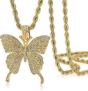 Rowin&CO 中性款嘻哈珠宝金色银冰晶闪亮密人造钻石生动蝴蝶吊坠锆石网球颈链项链,60.96 厘米