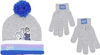 Disney 迪士尼冰雪奇缘女孩安娜和艾尔莎冬帽和手套套装,银色,适合 6-13 岁儿童