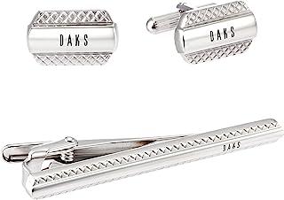 [DAKS] DAKS 袖扣 领带别针 套装 银色 DT3022/DC7022
