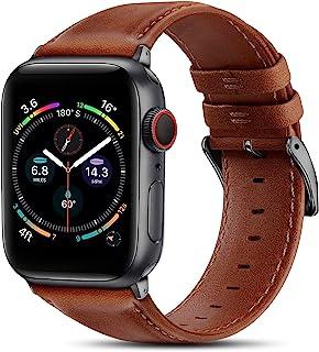 BRG 皮革表带兼容 Apple Watch 苹果手表表带 44 毫米 42 毫米 40 毫米 38 毫米,男式女式替换真皮表带,适用于 iWatch SE 系列 6 5 4 3 2 1,橙色棕色表带/太空灰色适配器,44 毫米 42 毫米