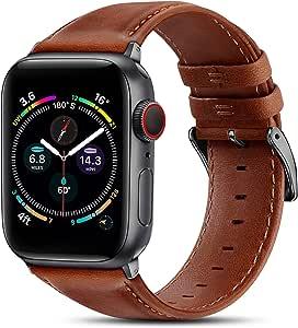 BRG 皮革表带兼容 Apple Watch 苹果手表表带 44 毫米 42 毫米 40 毫米 38 毫米,男式女式替换真皮表带,适用于 iWatch SE 系列 6 5 4 3 2 1,橙色棕色表带/太空灰色适配器,40 毫米 38 毫米