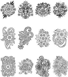30 张花卉临时纹身贴纸、曼荼罗花和其他花卉素描风格身体艺术临时纹身,适合女性、女孩或儿童