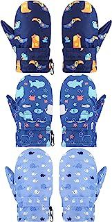 3 双幼儿手套儿童滑雪手套防水雪地手套婴儿男孩女孩冬季保暖手套中性款羊毛手套(经典图案,L 码)