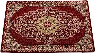IKEHIKO 玄关地垫 土耳其制造 威尔顿纺织 经典图案 『贝尔米拉』 红色 60×90cm -
