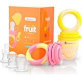 NatureBond 婴儿食品喂食器/水果喂食器安抚奶嘴(两件装) - 婴儿出牙玩具牙胶,激励颜色——包括 6 件所有尺…