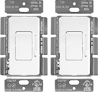 ENERLITES 低压滑动调光器装饰开关,开/关摇杆,适用于 0-10V LED 和荧光灯具,单极或三路,UL 认证,51300L-W-2PCS,白色,2 件装
