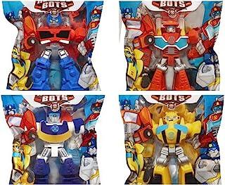 "Playskool Heroes 4"" G1 Transformers Rescue Bots Grab-Pack 限量版动作公仔 - 大黄蜂、阿奇警-机器人、热波消防机器人和擎天柱 - 4 件套"