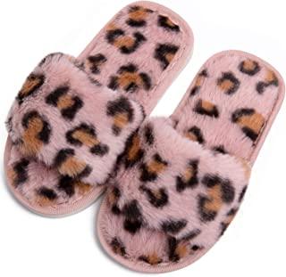 男孩女孩毛绒家居拖鞋可爱舒适人造毛皮懒人毛绒露趾家居拖鞋儿童室内户外保暖鞋