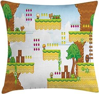 Video Games Throw Pillow Cushion Cover by Ambesonne, Cartoon Retro Computer Graphic Kids Western Design Box Cloud Fun Adve...