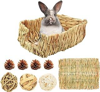 兔子干草床,手工编织兔子草地垫 天然兔草床 小动物躲藏 带草球 兔屋 适合Chinchilla 豚鼠和其他小动物 (H01)