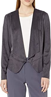 Anne Klein 女士绒面革垂坠前荷叶边夹克
