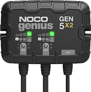 NOCO Genius GEN5X2,2 组,10 安培(每组 5 安培)全自动智能船用充电器,12 伏车载电池充电器,电池维护器和带温度补偿的电池分离器