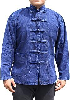 RaanPahMuang 混合厚粘胶棉衬衫中国领长袖泰式纽扣