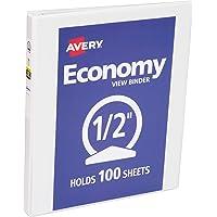 Avery Economy View 活页夹带圆形环 0.5 Inch 白色