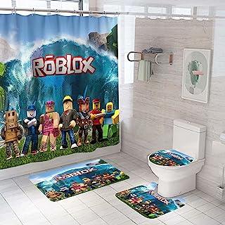 4 件视频游戏浴帘套装带防滑地毯,马桶盖和浴室垫,浴帘带 12 个挂钩,防水面料布涤纶浴帘浴缸窗帘