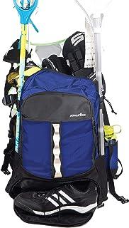 Athletico Lacrosse Bag – 超大曲棍球背包 – 可容纳所有长曲棍球或曲棍球设备 – 两个杆夹和独立的夹板隔层