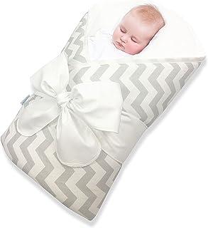 Bundlebee 婴儿抱被/襁褓/毛毯 - 内置*婴儿垫 - 非常适合摇篮和轻松过渡婴儿床使用 - 礼品包装 - 新生儿 - 夏季/冬季 - V 形灰色