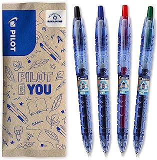 Pilot 百乐 – 套装带 4 个 B2P Gel 0.7 – 圆珠笔 – 可伸缩 – 由回收塑料制成 – 蓝、黑 红色 * – 中等笔尖