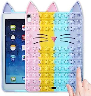 JoySolar 彩色猫适用于 iPad 2020/2021 Air 4 11 英寸 11 英寸保护套硅胶保护套设计卡通人物有趣可爱独特 Fidget 美学酷炫卡哇伊趣味保护套适合男孩女孩青春(适用于 iPad 10.9)