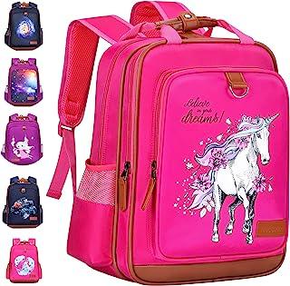 女孩背包独角兽 38.10 厘米 | 粉色儿童书包 适用于幼儿园或小学 白色独角兽 One_Size