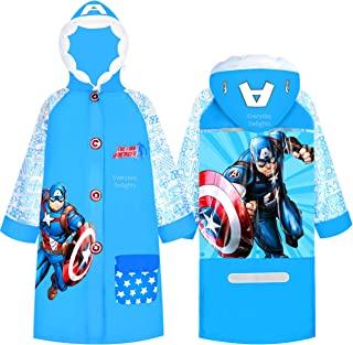 Marvel 美国队长连帽雨衣防雨夹克斗篷外套适合男孩幼儿儿童