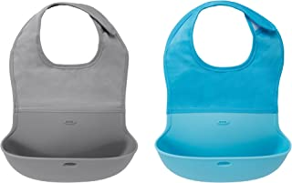 OXO Tot 两件套防水硅胶卷式安抚围嘴 颈部合体面料 灰色/水色