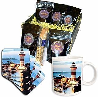 3dRose Harbor Town 灯塔位于黄昏的希尔顿头岛咖啡礼品篮,多色