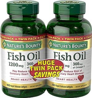 Nature's Bounty 自然之宝 1200毫克鱼油软胶囊,两瓶,每瓶180粒(共360粒)液体释放快