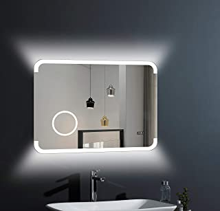 LED 浴室镜 Talos Harmony - 80 x 60 厘米 - 背光室内灯 - 照明化妆镜 带 3 倍放大 - 数字时钟 - 高品质铝框架