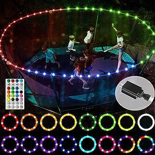 【*版 USB 插头版本】 LED 蹦床灯,遥控轮辋灯适用于 12 英尺蹦床,16 种颜色和 12 种模式,无更换电池,防水,超亮,可在夜间户外玩耍
