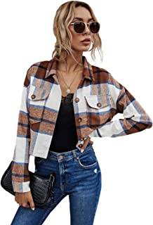 Floerns 女式休闲格子翻盖口袋纽扣露脐外套夹克