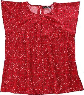 Agnes Orinda 女式加大码荷叶边袖圆点花卉雪纺衬衫工作上衣