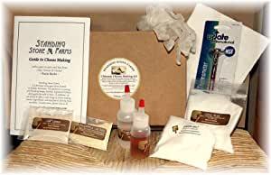 Standing Stone Farms Ultimate 奶酪制作套件 - Mozzarella, Feta, Cheddar 奶酪卷曲, 胡椒杰克, 奶油奶酪, Marscapone, Chèvre, Burrata plus Chef 食谱。