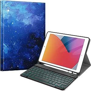 Fintie 键盘保护壳适用于 iPad 7 代 10.2 英寸 2019 英寸新款,软 TPU 后盖带铅笔架,磁性可拆卸无线蓝牙键盘,7 色背光,