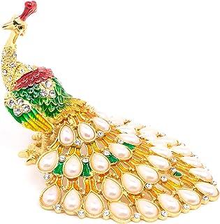 VI N VI 珠宝孔雀首饰盒饰品盒珍珠水钻尾巴   手绘收藏模型和装饰珠宝展示架,支架和收纳盒