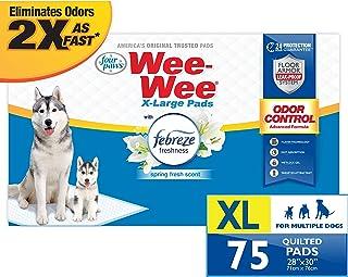 Four Paws Wee-Wee 防异味超大宠物尿垫,适用于Febreze Freshness 狗狗,75 支 XL 码 28 x 34 英寸(约 71.1 x 86.4 厘米)
