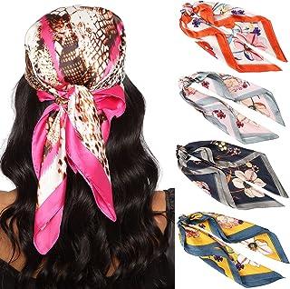27.5 英寸(约 69.8 厘米)丝绸缎面方形头巾 - 4 件女式缎面头巾 头巾 睡头巾