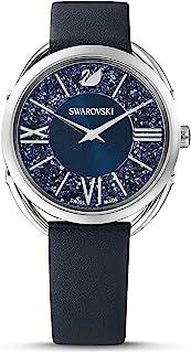 Crystalline 魅力手表,皮革表带,蓝色,不锈钢