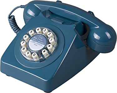 Wild Wood 746 旋转设计复古地线电话 海蓝色